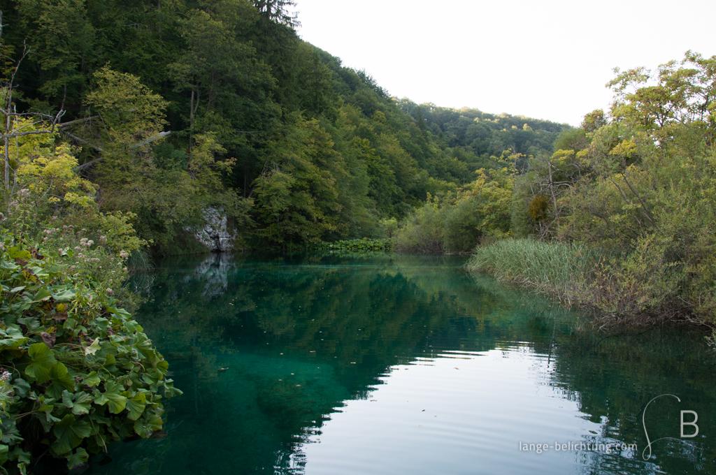 Ein stiller Bergsee ergießt sich in den Bergen der Plitvicer Seen. Umgeben ist das türkise klare Wasser von grünen Bäumen, Sträuchern und Gräsern.
